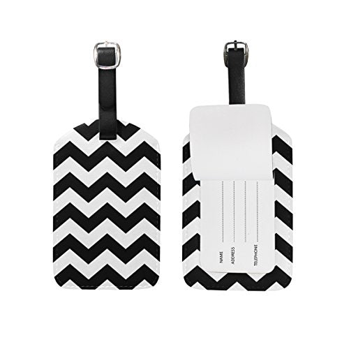 GIOVANIOR Black White Chevron PU Leather Luggage Tags Suitcase Labels Bag Travel ID Bag Tag, 1 Pcs