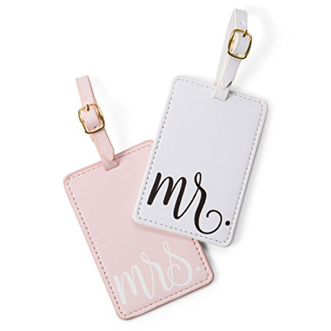 Travel Mr and Mrs Luggage Tags: Cute, Unique Pink and White, Flexible and Sturdy Leather Suitcase Bag Identifiers for Men and Women - Baggage Tag Identification Set of 2 for Cruise or Airplane Travel