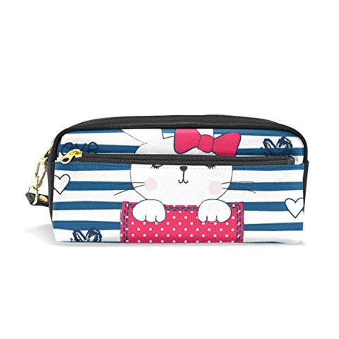 Colourlife Cute Bunny Girl Pocket Pu Leather Pencil Case Holder Pouch Makeup Bags For Boys Girls