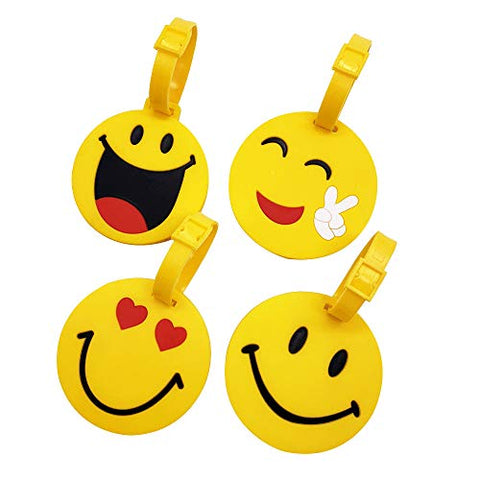 Mziart Cute Emoji Luggage Tags Set of 4, Personalized Smiling Face TSA Travel Bag ID Suitcase Labels for Women Men