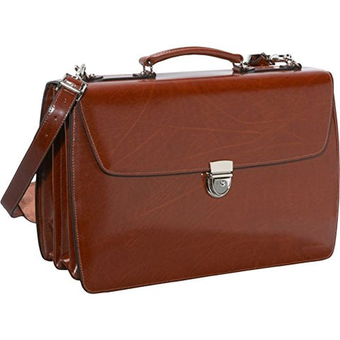 Jack Georges Elements Collection Triple Gusset Flapover Laptop Leather Briefcase