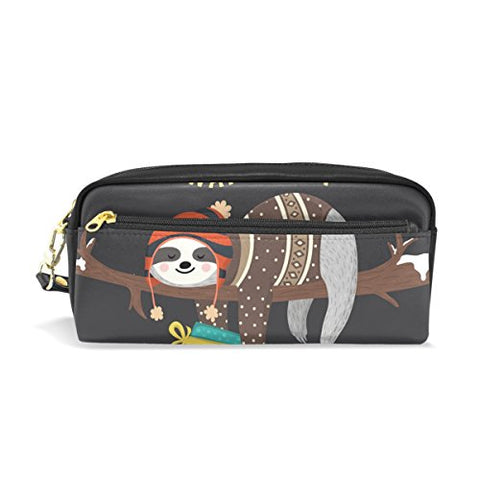 Colourlife Cute Baby Sloth Sleeping On Tree Pu Leather Pencil Case Holder Pouch Makeup Bags For