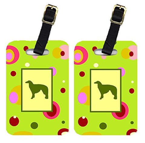 Caroline's Treasures CK1016BT Pair of 2 Borzoi Luggage Tags, Large, multicolor