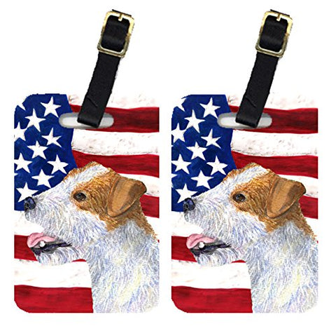 Caroline's Treasures SS4031BT Pair of USA American Flag with Jack Russell Terrier Luggage Tags,