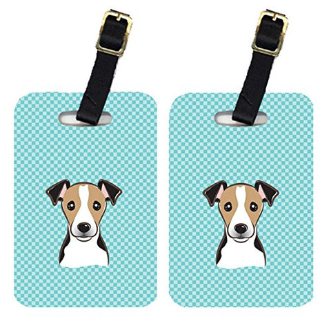 Caroline's Treasures BB1199BT Pair of Checkerboard Blue Jack Russell Terrier Luggage Tags, Large,