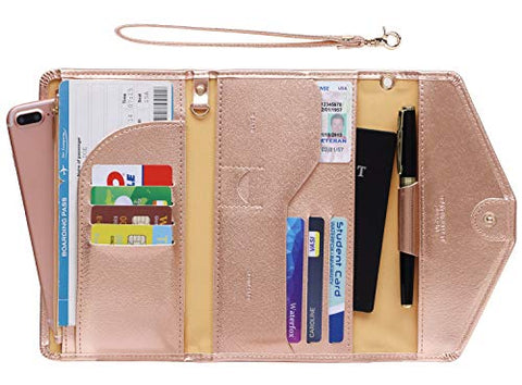 Zoppen Passport Holder Travel Wallet (Ver.5) for Women Rfid Blocking Multi-purpose Passport Cover Document Organizer Strap,Rose Gold