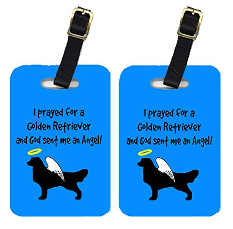 Caroline's Treasures AN1033BT Pair of 2 Golden Retriever Luggage Tags, Large, multicolor