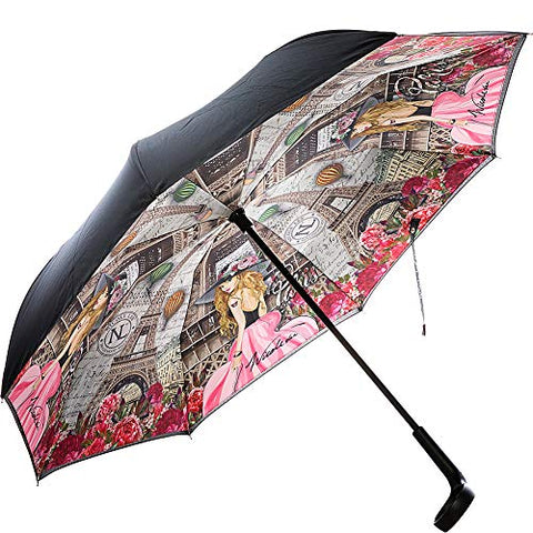 Nicole Lee Women's Cup Holder Handle Pink Floral Print Pongee Uv Protection Reversible Umbrella, Vivian Dreams Paris
