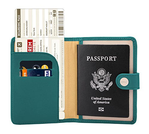 Zoppen Rfid Blocking Travel Passport Holder Cover Slim Id Card Case (#25 Teal Green)