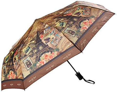 "Nicole Lee Women's Automatic [Vintage European Stamp Print] Push Button Foldable 12"" Inch Umbrella"