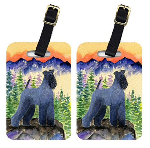 Caroline's Treasures SS8223BT Pair of 2 Kerry Blue Terrier Luggage Tags, Large, multicolor