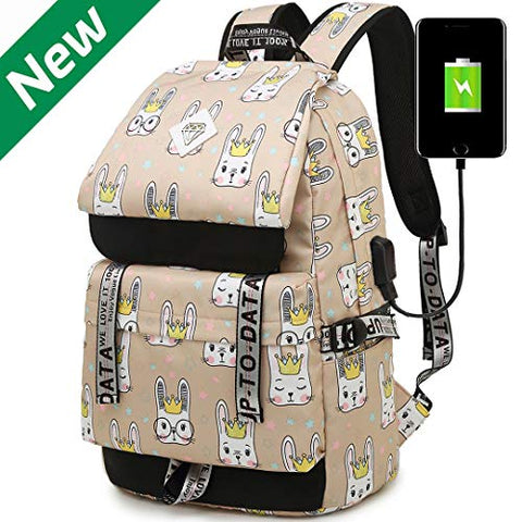 Hey Yoo HY790 Cute Rabbit School Backpack Travel Casual Hiking Daypack Laptop Book Bag School Bag Backpack for Teen Girls Women (Orange)