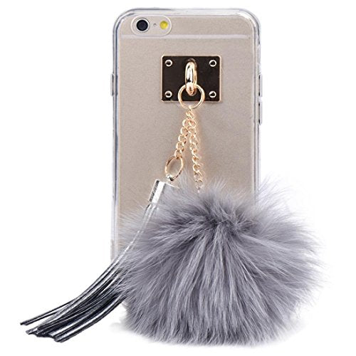 For iPhone 6S,AutumnFall Soft Transparent TPU Protect Phone With Fur Ball for iPhone 6/6S 4.7 Inch