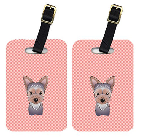 Caroline's Treasures BB1232BT Pair of Checkerboard Pink Yorkie Puppy Luggage Tags, Large,