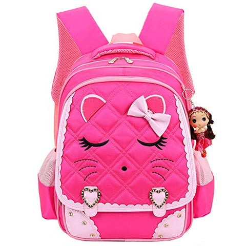 Efree Cute Cat Face Bow Diamond Bling Waterproof Pink School Backpack Girls Book Bag (Medium, Rose)