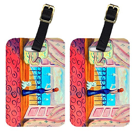 Caroline's Treasures 7125BT Pair of 2 Westie with Mom and a view Luggage Tags, Large, multicolor