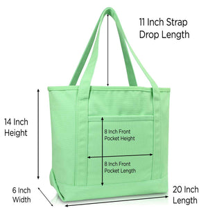 "DALIX 20"" Solid Color Cotton Canvas Shopping Tote Bag (Exclusive Edition)"