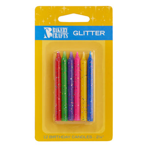 12 Glitter , Assorted Colors Candles