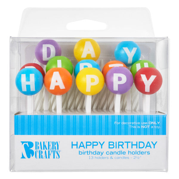 A Birthday Place - Cake Toppers - Bakery Crafts 3D Round Happy Birthday Candle Holders Candles
