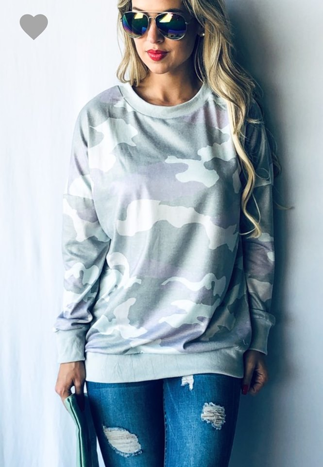 Camo Pullover In Mint