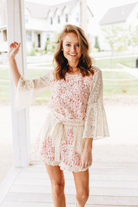 Lolita Bell Sleeve Lace Blouse In Cream