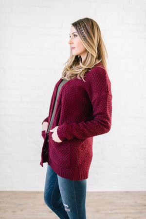 The London Cable Knit Cardi in Burgundy