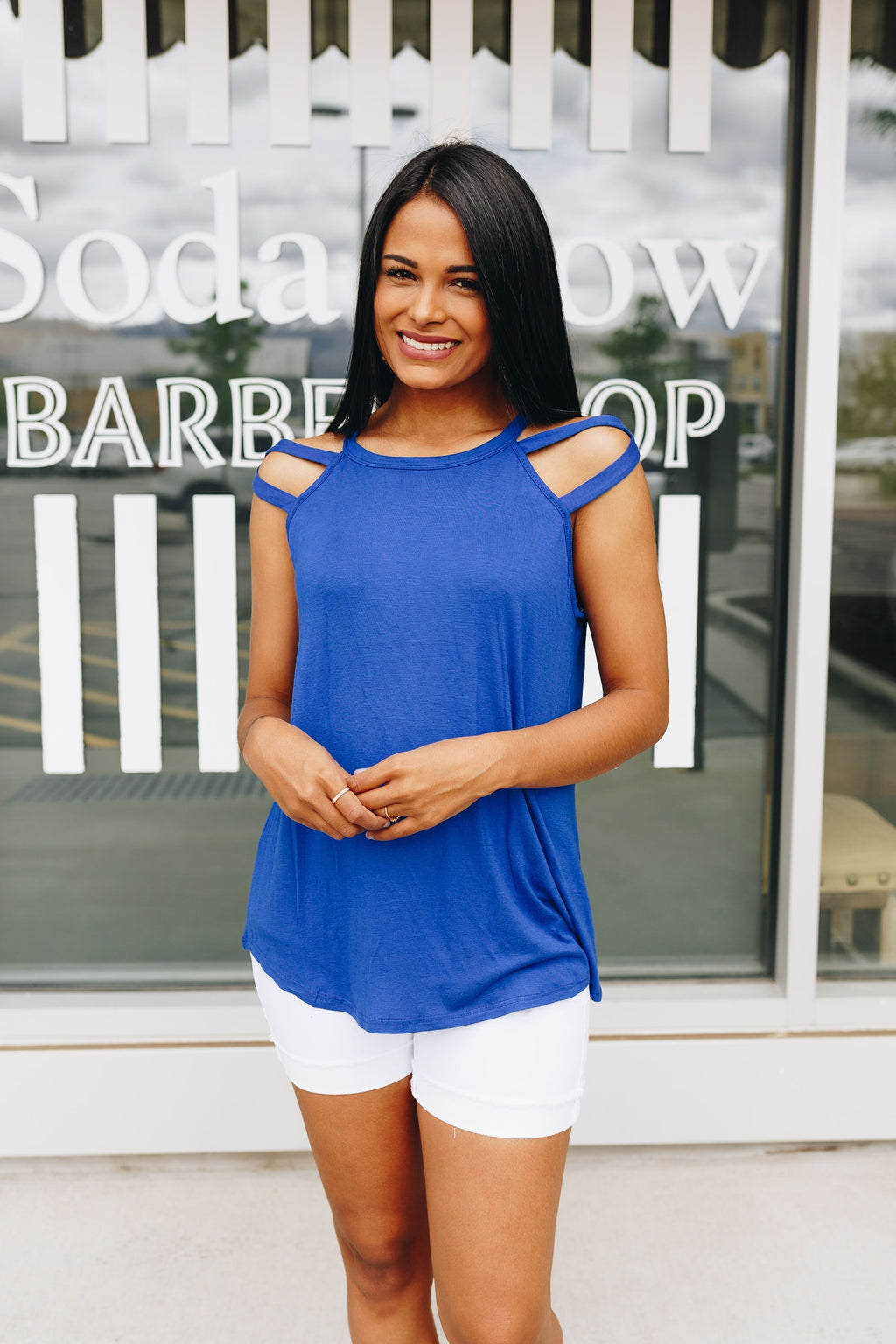 All Cut Up Sleeveless Top In Royal