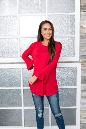 Christmas Red Bell Sleeve Top - ALL SALES FINAL
