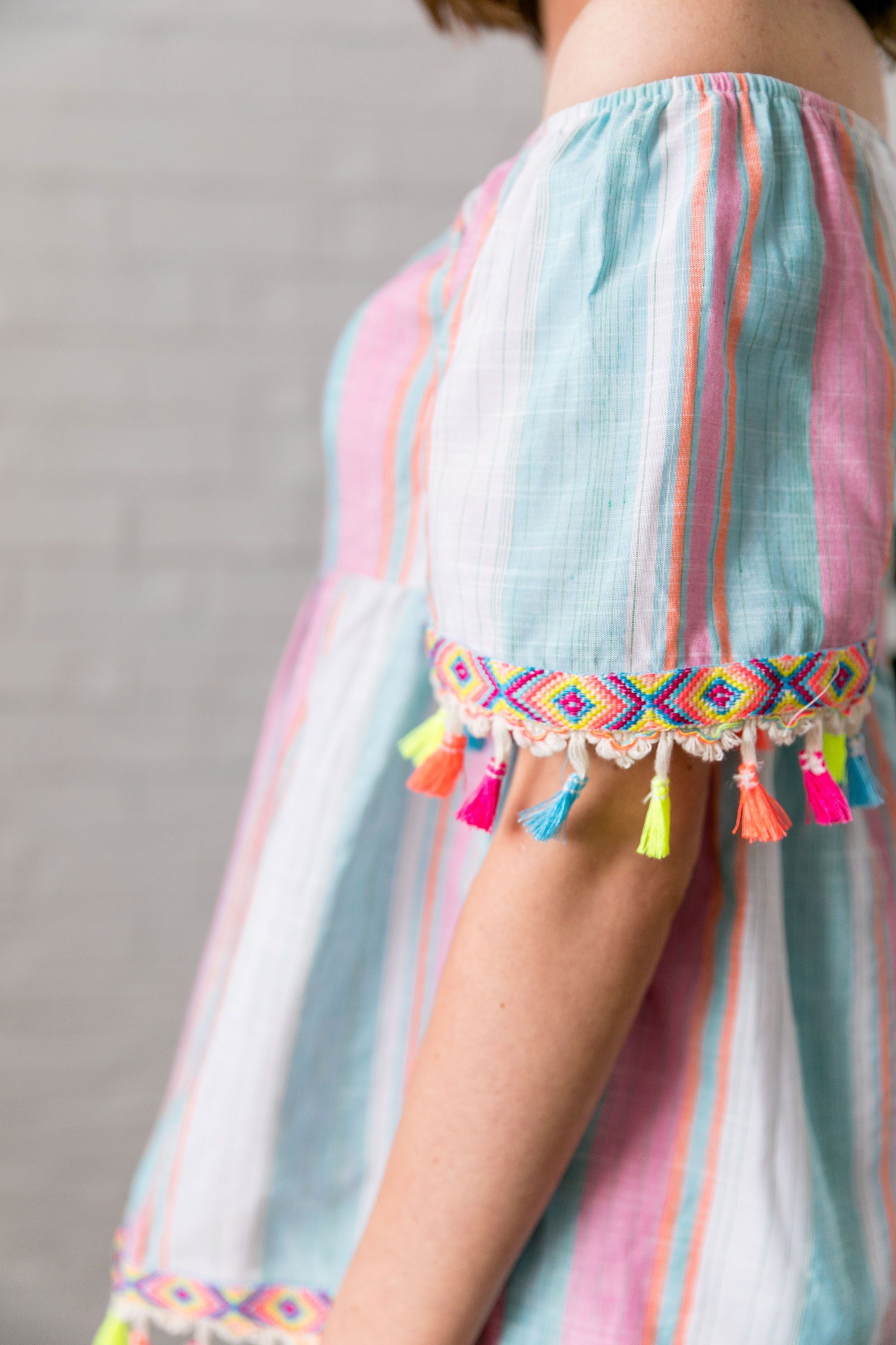 Fiesta Fringed Off The Shoulder Top