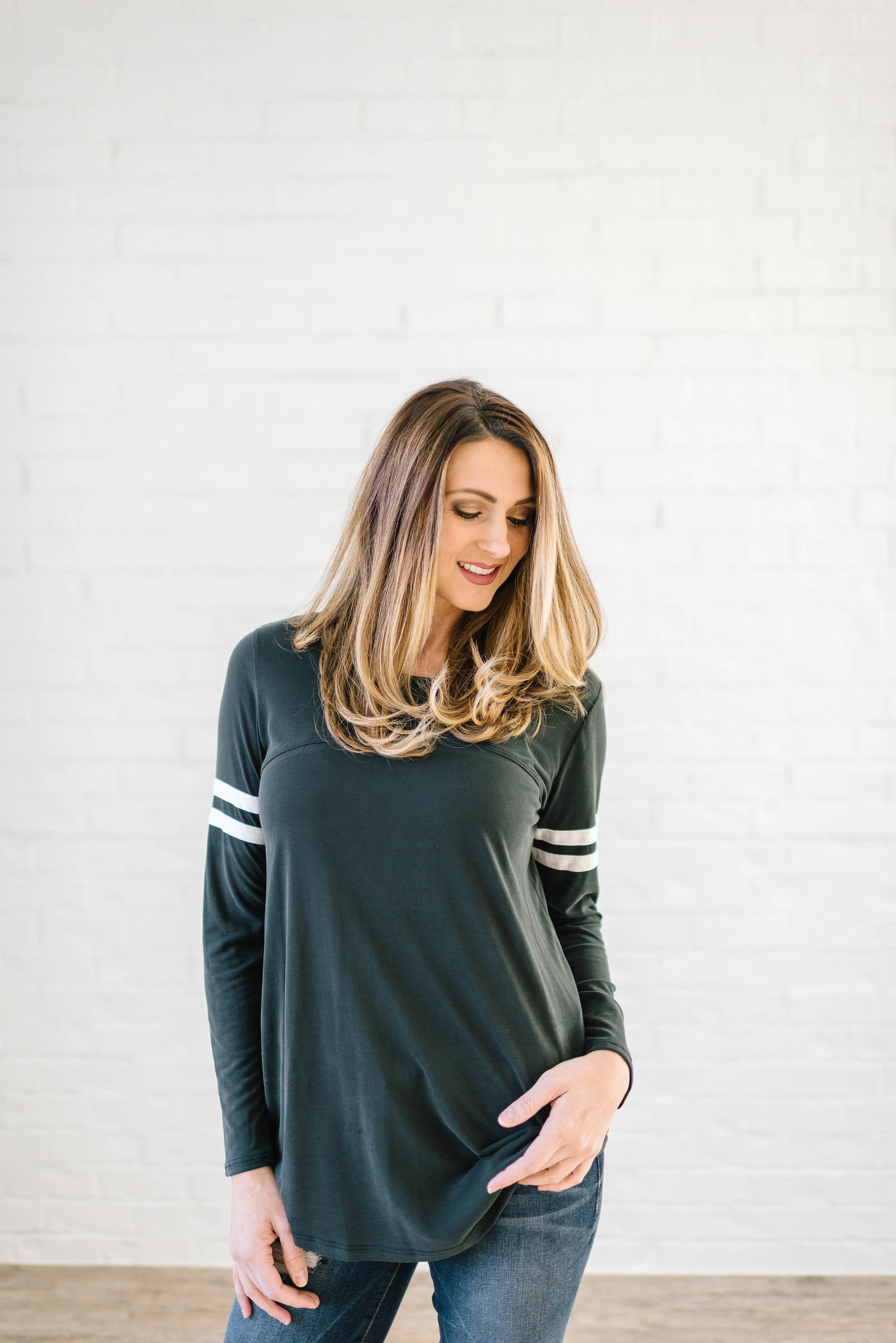 Janie Stripes Long Sleeve Tee in Charcoal Gray