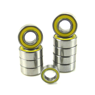TRB RC Precision Ball Bearing Kit (10) YEL Rubber Sealed Tamiya Grasshopper - trb-rc-bearings