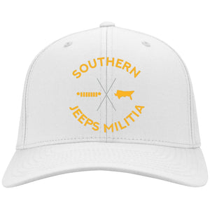Southern Jeeps Militia gold embroidered logo C813 Port Authority Fullback Flex Fit Twill Baseball Cap