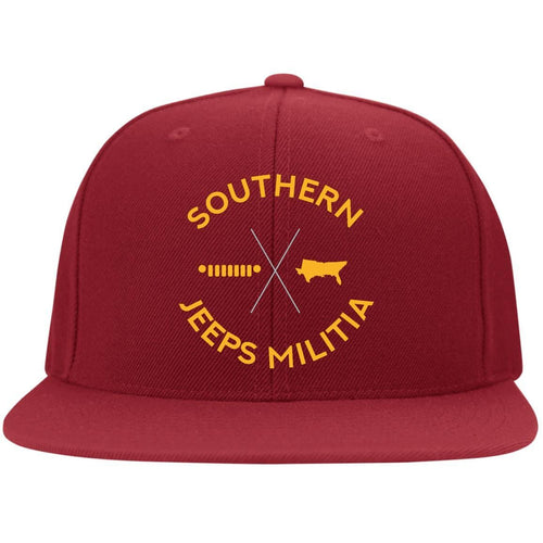 Southern Jeeps Militia gold embroidered logo 6297F Fullback Flat Bill Twill Flexfit Cap