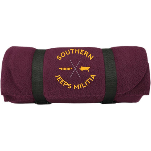 Southern Jeeps Militia gold embroidered logo BP10 Port & Co. Fleece Blanket