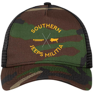 Southern Jeeps Militia gold embroidered logo NE205 New Era® Snapback Trucker Cap