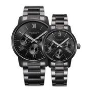 Aries Gold Couple Watch | Full Black Multifunction | Stainless Steel Bracelet