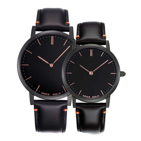 All Black Couple Watch | Black Dial Black Strap