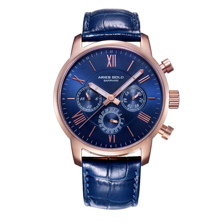 Aries Gold Men Watch | Rose Gold Multifunction G 103 RG-BU | Blue Strap
