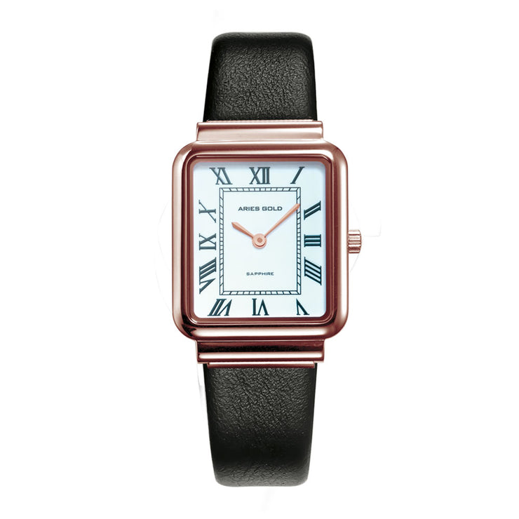 Aries Gold Women | Ladies Rose Gold Watch L 5032Z RG-W-L |  Rectangle Dial Black Strap