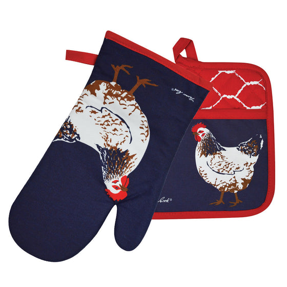 Thomas Cook Oven Mitt & Pot Holder Set Chook