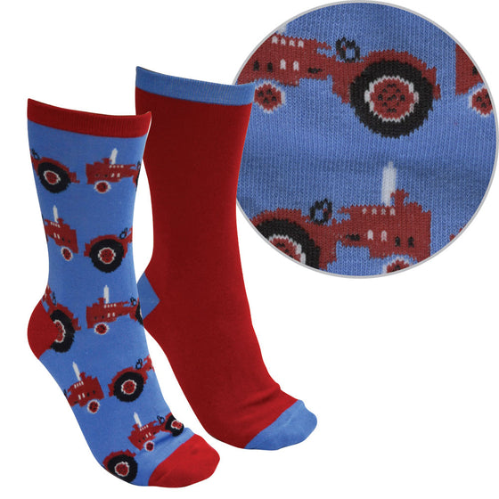 Thomas Cook Farmyard Socks Twin Pack Blue/Red ( Tractor )