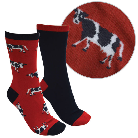 Thomas Cook Farmyard Socks Twin Pack Red Navy ( Cow )