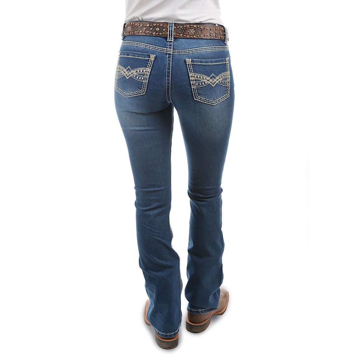 Pure Western Womens Savannah Boot Cut Jean 34 Leg Morning Sky