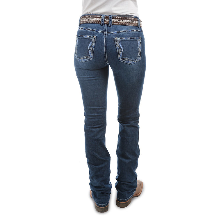 Pure Western Womens Louisiana Relaxed Rider Boot Cut Jean 36 Leg Twilight
