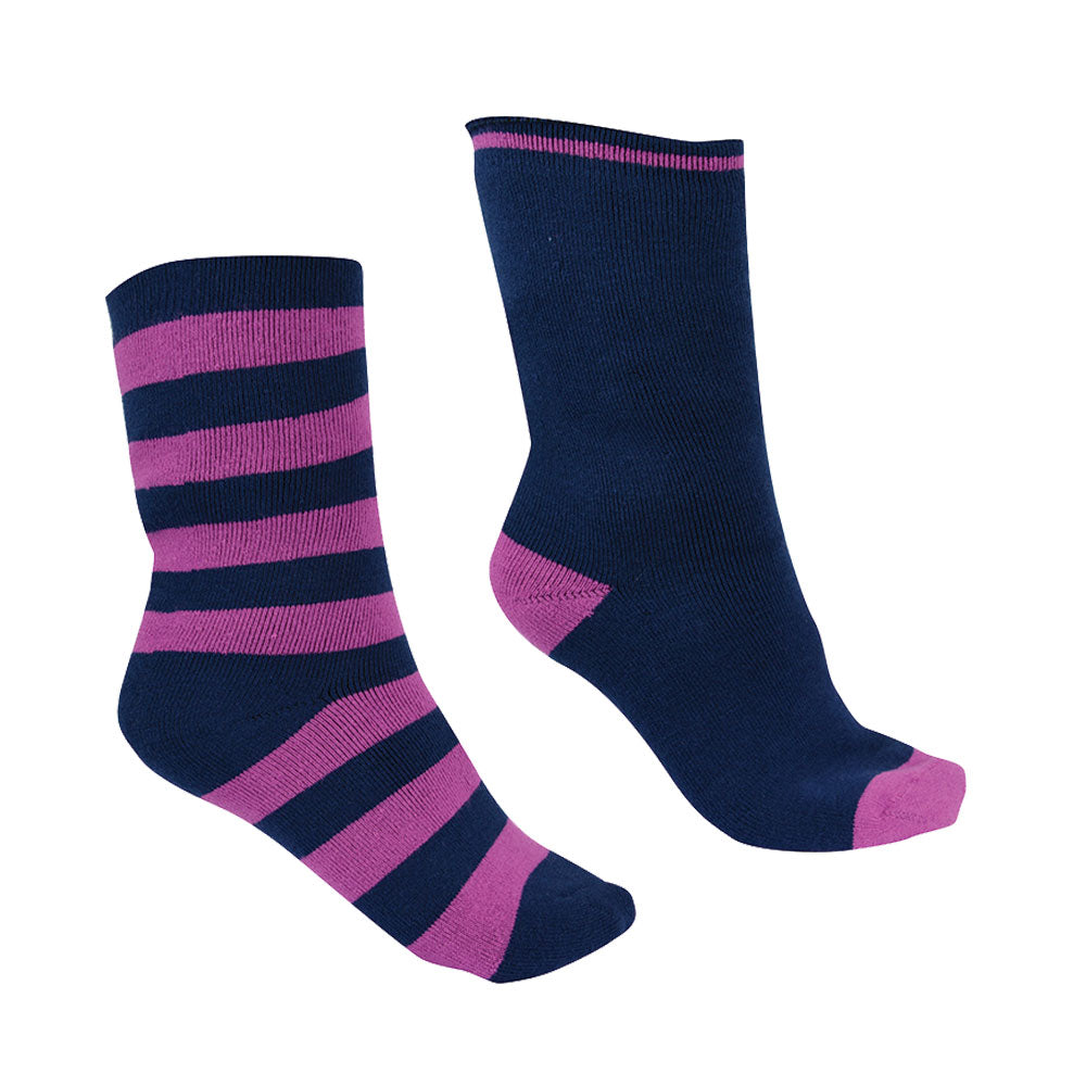 Thomas Cook Thermal Socks - Twin Pack Purple Orchid/Navy