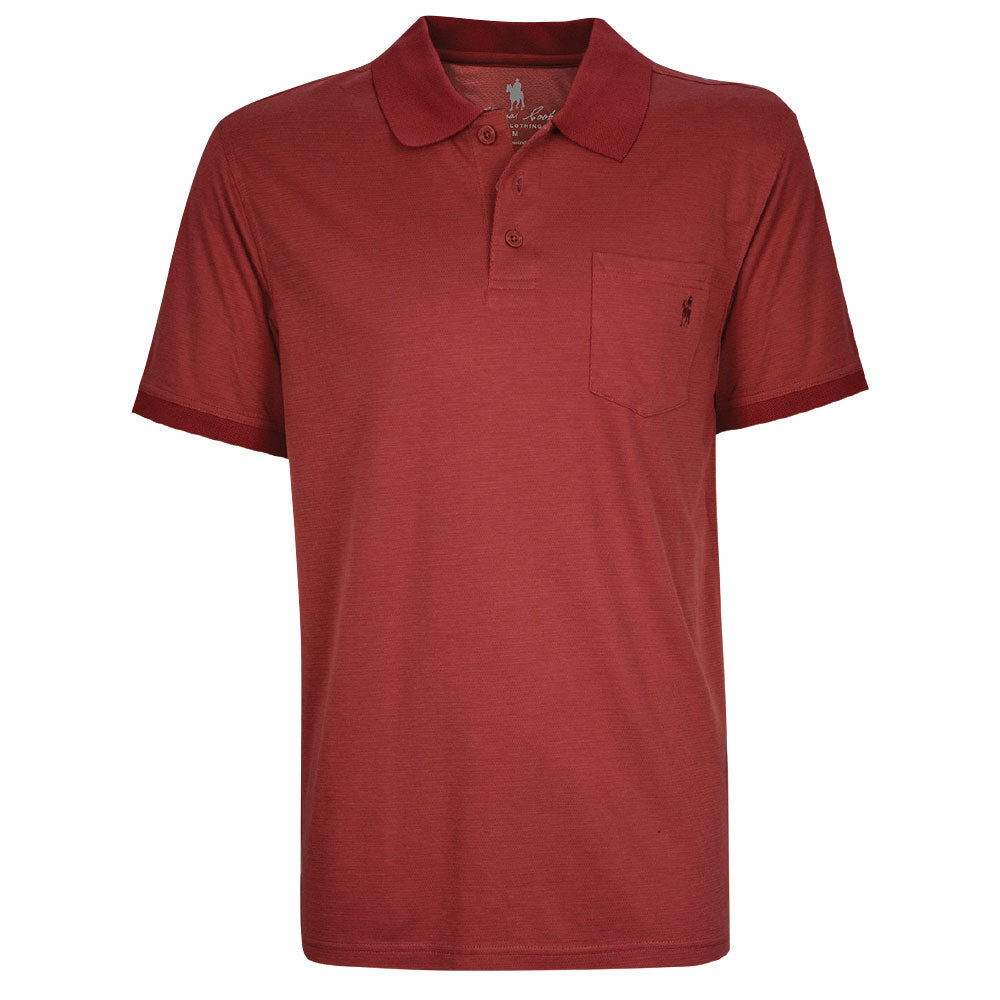 Thomas Cook Mens Bamboo 1 Pocket Polo Red Rust