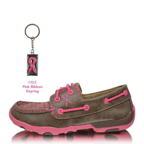 Twisted X Womens Pink Ribbon Mocs Boat Slip On Bomber/Neon Pink