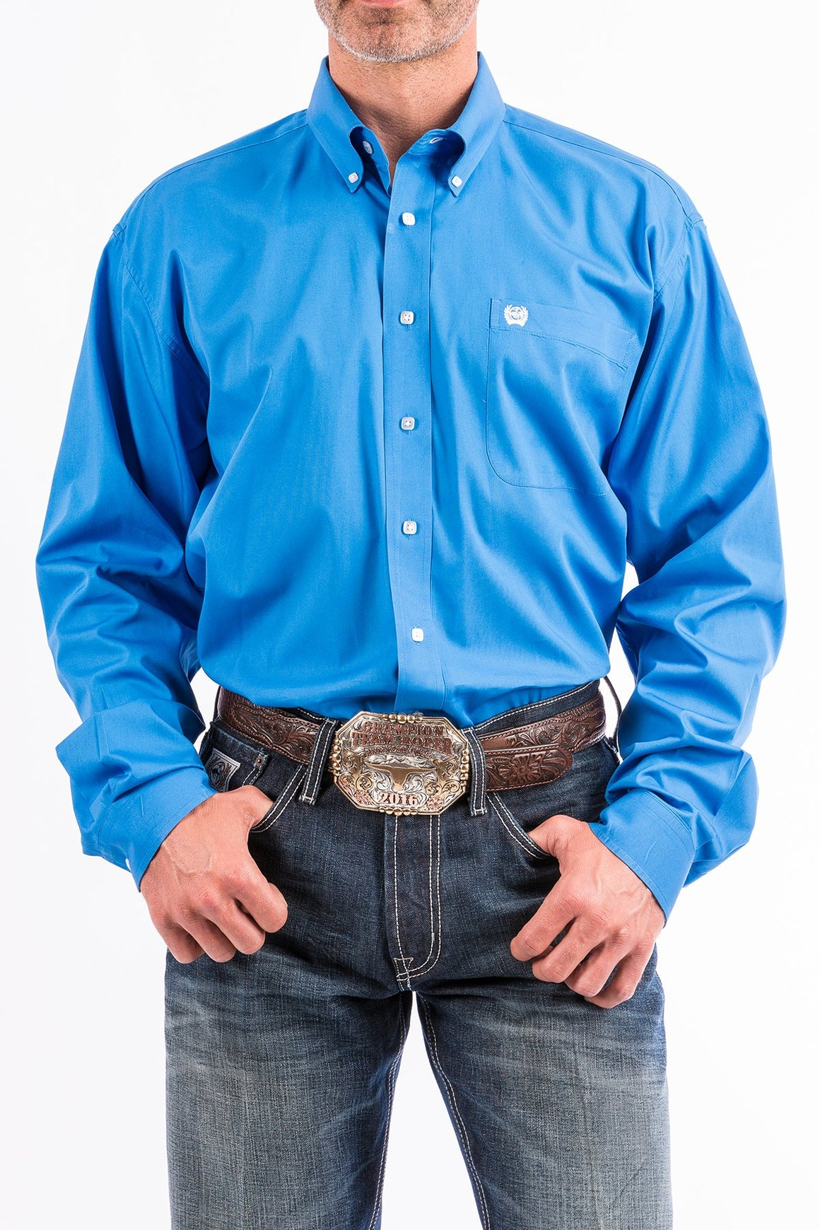 Cinch Solid Blue Western Button Down Shirt