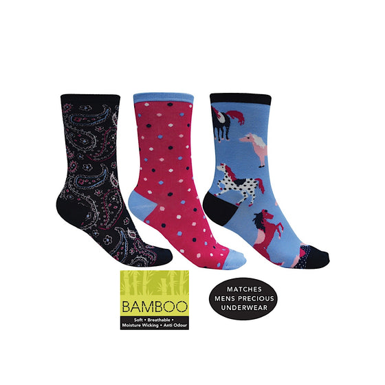 Thomas Cook Bamboo Socks 3-Pack Pink Multi, Paisley, Spot, Horse