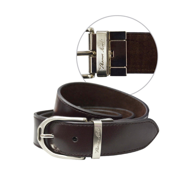 Thomas Cook Womens Stirrup Buckle Reversible Belt Dark Brown/Brushed Nicke